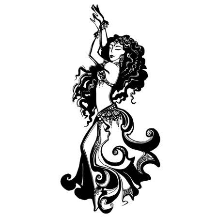 vector image of a dancing girl, oriental dance