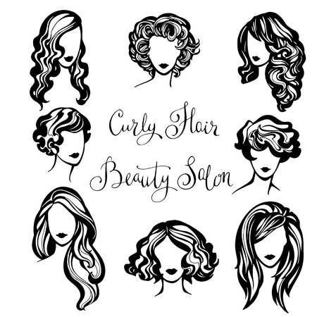 stylish women: vector set of stylized logo with wavy womens hairstyles , collection of fashionable hairstyles for curly hair for stylish women