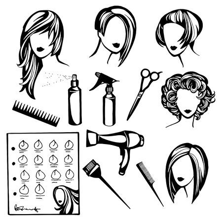 ロゴの理髪店、美容サロン、スタイリッシュなヘアスタイルの女性と美容のツールのコレクションのベクトルを設定