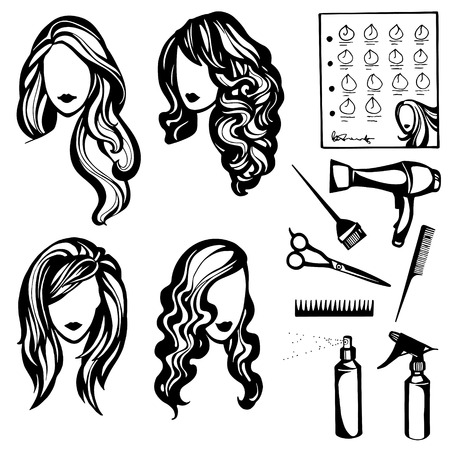 Vector Set Of Stylized Logo With Women\'s Hairstyles And Hairdressers ...