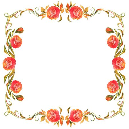 frame for design in the style of Provence, vintage decorative folk painting with flowers