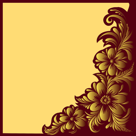 ukrainian traditional: vector red and gold pattern with flowers, an ethnic Ukrainian ornament, Decorative frame corner,