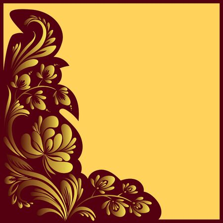 vector red and gold pattern with flowers, an ethnic Ukrainian ornament, Decorative frame corner,