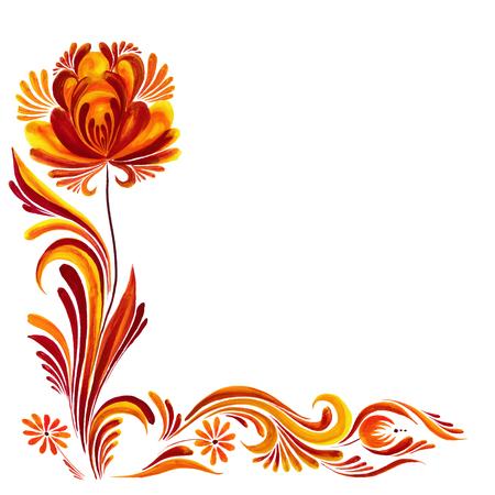 Ukrainian traditional painting Petrikovskaya, Vector frame with flowers Illustration