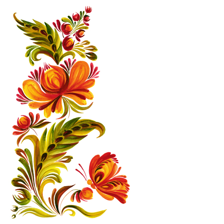 Traditional Ukrainian vector ornament,  Petrikovskaya painting with butterflies and flowers