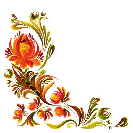execute: Traditional Ukrainian vector ornament,  Petrikovskaya painting with flowers
