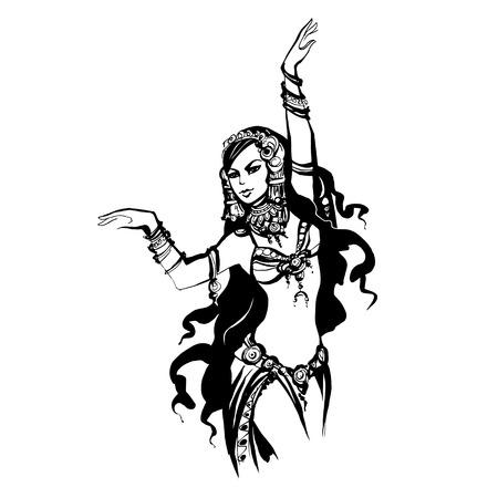 bellydance: oriental  bellydance, Arabian dancer, vector  tribal dancing woman