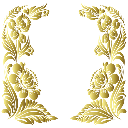 vector gold pattern with flowers, an ethnic Ukrainian ornament, Decorative frame for design Illustration