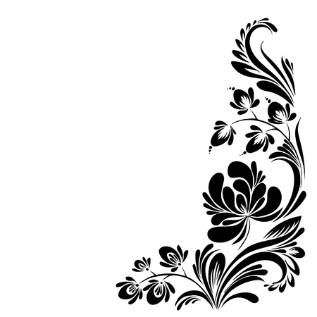 vector Black and white pattern with flowers, an ethnic Ukrainian ornament 矢量图像