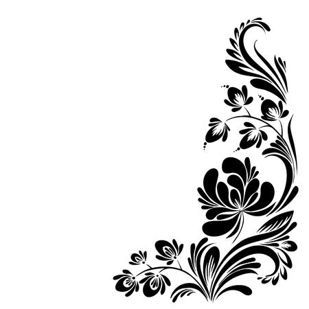 vector Black and white pattern with flowers, an ethnic Ukrainian ornament Ilustração