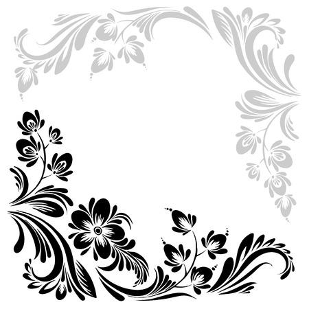 vecteur noir et motif blanc avec des fleurs, un ornement ethnique