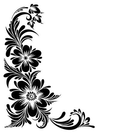 vector Zwart en wit patroon met bloemen, etnische Oekraïense sieraad