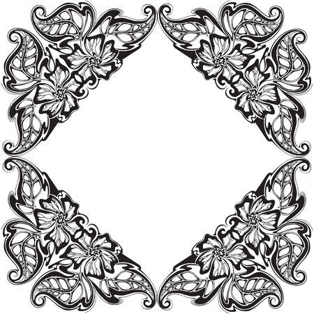 Vector black and white frame with floral