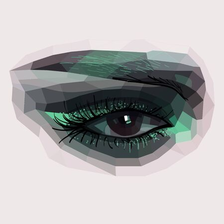 gazing: female eye, vector illustration of the eye, eye makeup, Illustration