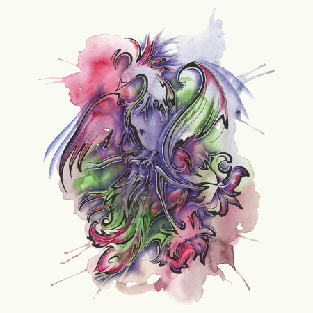 vector illustration of the bird, abstract watercolor Illustration