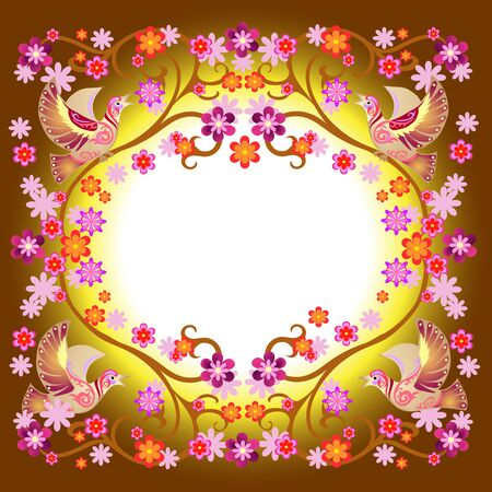 warble: frame with a bird on a branch, decorative bird image,  vector flowers