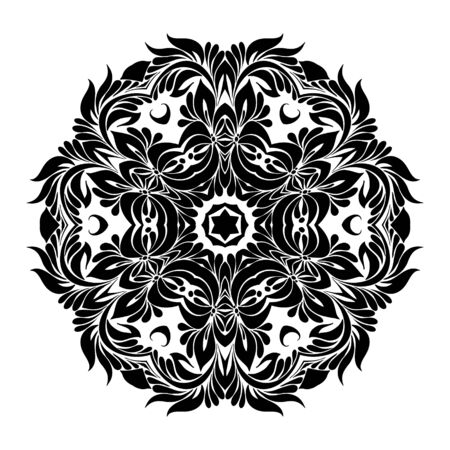 Round Ornament Pattern,  vector black and white mandala