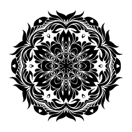 an example: Round Ornament Pattern,  vector black and white mandala