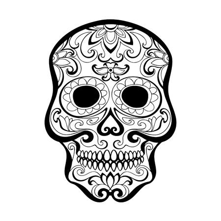 dia de los muertos mexico halloveen vector drawing skull for