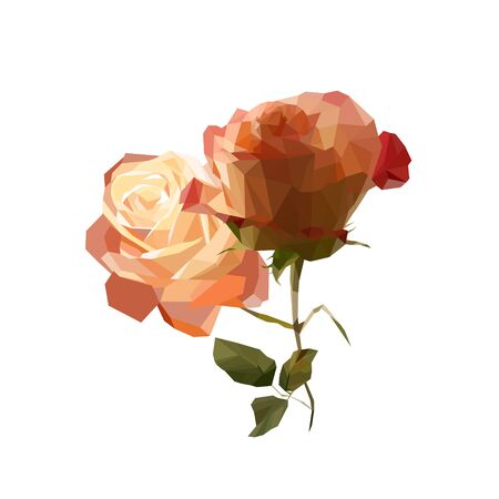 landfills: vector red rose flower from landfills, stylish rose mosaic for design