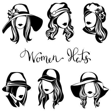 vector set of black and white logos of womens hats, stylized girls with caps