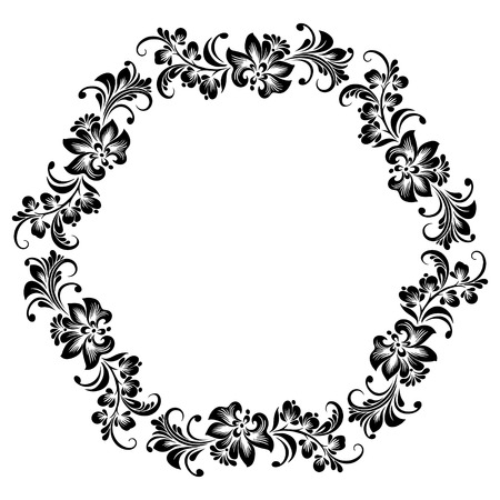 Vector round frame for design with stylized floral ornament, black and white decoration in folk style with decorative flowers