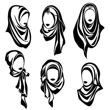 ヒジャーブ、デザインの様式化されたイスラム教の女性のコレクションでイスラム教徒の東洋の女の子の黒と白のベクトルのロゴのセット