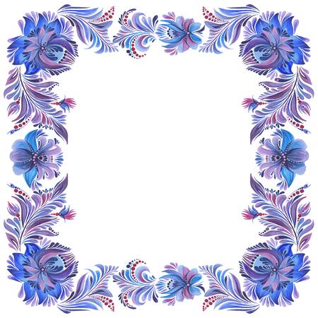 민속 풍의 파란색 사각형 프레임 스톡 콘텐츠