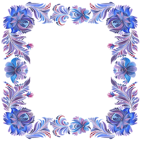 blue square frame  in folk style