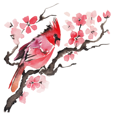 Watercolor bird on a flowering branch