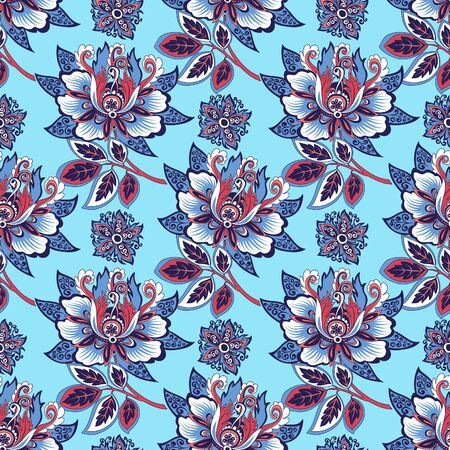 beautiful seamless floral ornament with decorative flowers on a blue background for design, colorful pattern with stylized abstract flowers for decoration