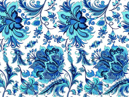 Seamless blue flowers on a white background Ilustração