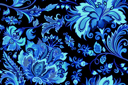 Seamless blue flowers on a black background