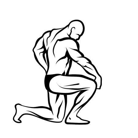 Male bodybuilder black and white sketch.