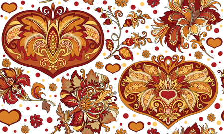 ornament with flowers and heart Vector illustration.