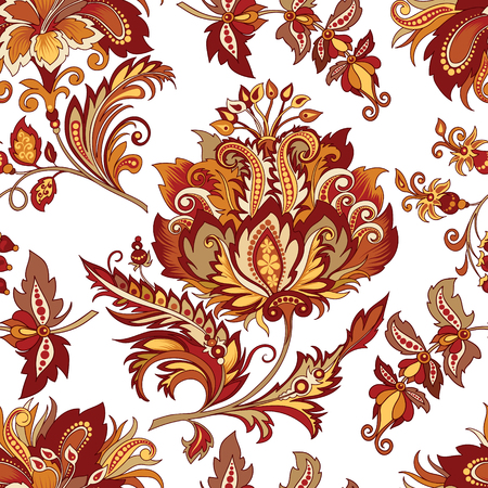 Seamless vintage ornament with red flowers
