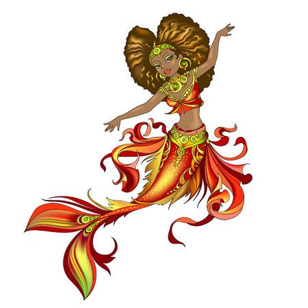 Black princess mermaid vector illustration