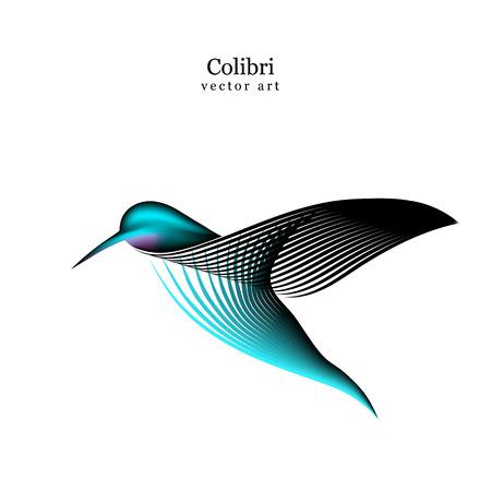 Vector logo birds in style line art on a white background. Minimalistic colibri silhouette logo for design.