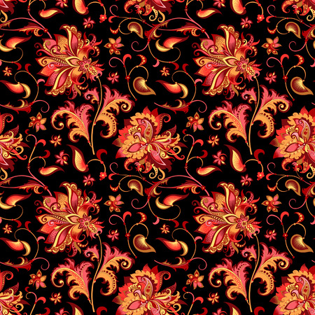 beautiful seamless oriental pattern with decorative gold and red flowers on a black background for design, colored vintage ornament with abstract flowers