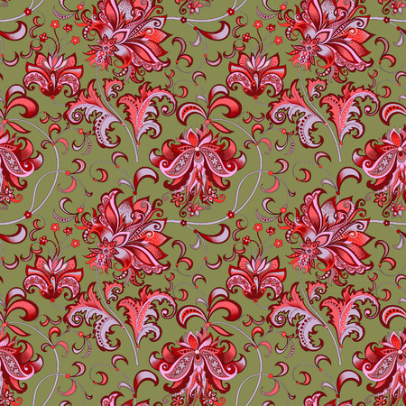 seamless pattern with red flowers Archivio Fotografico - 102174071