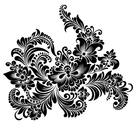black and white floral ornament in folk style Illustration