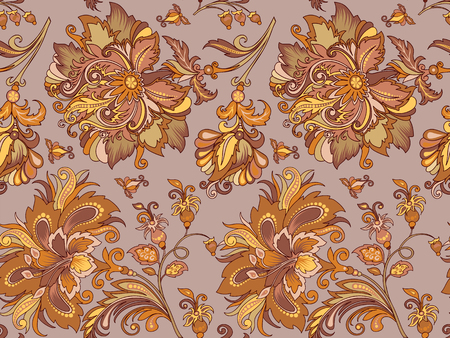 seamless pastel ornament with  golden flowers