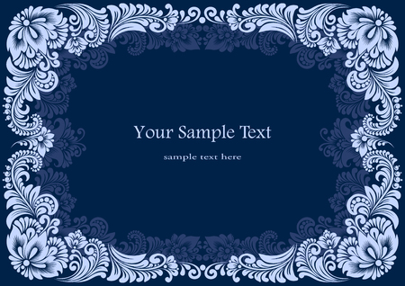 vector square white frames on a blue background Illustration