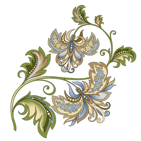 decorative vintage gold and blue flower