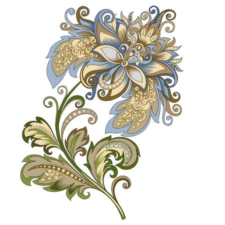decorative vintage gold and blue flower Ilustração