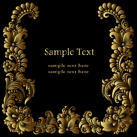 square golden  frame template