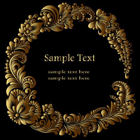 round golden  frame template