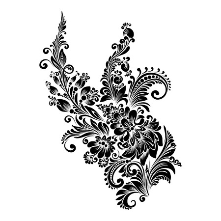 black and white floral ornament in folk style 矢量图像