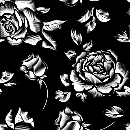 vintage flowers roses seamless pattern background
