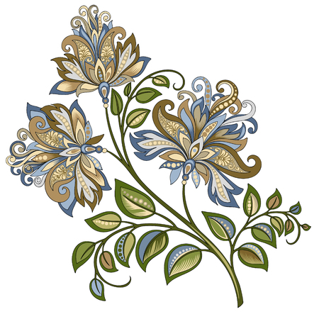 decorative vintage gold and blue flower Vettoriali